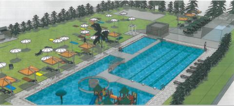 Wizualizacja - odkryty basen nad Łubinką, UM w Nowym Sączu