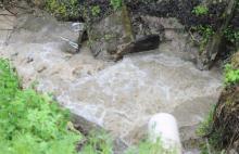 Ulewa, potoki wezbrały w Tymbarku