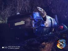 Spowodował wypadek w Kadczy i uciekł do lasu. Szukali go policjanci z psami