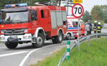 wypadek w Łabowej: auto dachowało, kobieta, przytomna, trafiła do szpitala