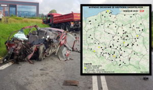 Mapa wypadków drogowych. Pod każdym punktem kryje się ludzki dramat