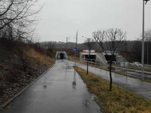 Ścieżka rowerowa, na Alejach Piłsudskiego w Nowym Sączu, po opadach deszczu